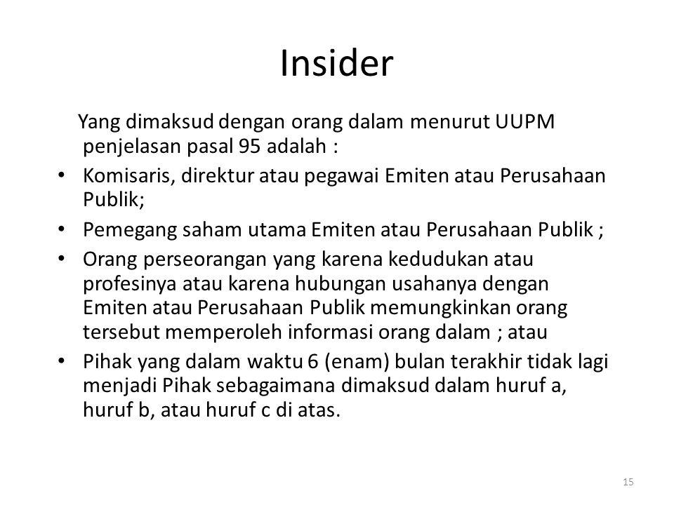 Insider Yang dimaksud dengan orang dalam menurut UUPM penjelasan pasal 95 adalah : Komisaris, direktur atau pegawai Emiten atau Perusahaan Publik; Pem