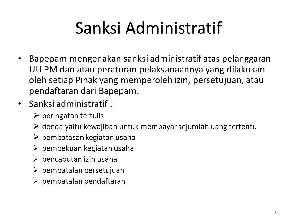 Sanksi Administratif Bapepam mengenakan sanksi administratif atas pelanggaran UU PM dan atau peraturan pelaksanaannya yang dilakukan oleh setiap Pihak