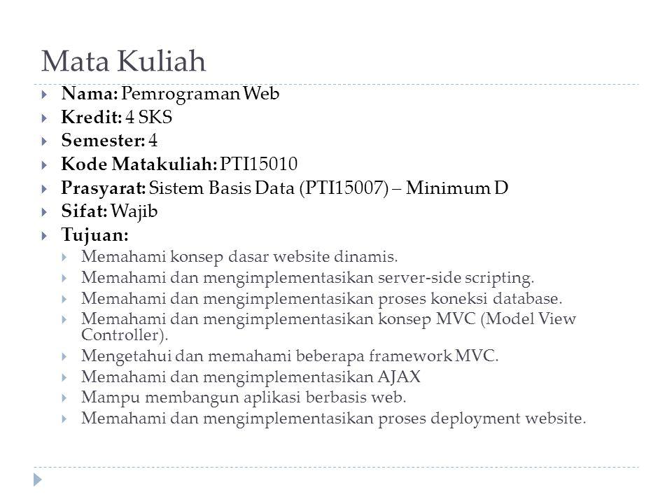 Mata Kuliah  Nama: Pemrograman Web  Kredit: 4 SKS  Semester: 4  Kode Matakuliah: PTI15010  Prasyarat: Sistem Basis Data (PTI15007) – Minimum D  Sifat: Wajib  Tujuan:  Memahami konsep dasar website dinamis.