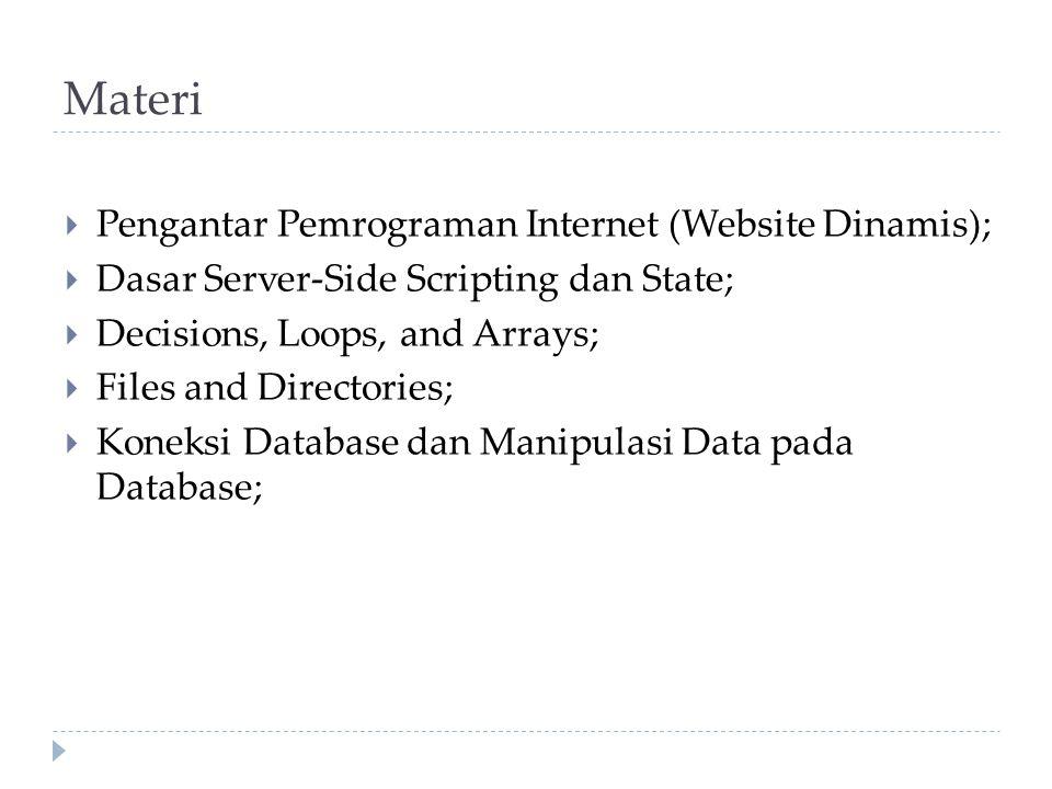 Materi  Pengantar Pemrograman Internet (Website Dinamis);  Dasar Server-Side Scripting dan State;  Decisions, Loops, and Arrays;  Files and Directories;  Koneksi Database dan Manipulasi Data pada Database;