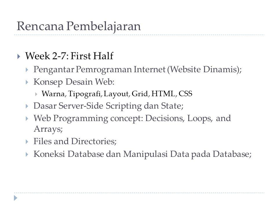 Rencana Pembelajaran  Week 2-7: First Half  Pengantar Pemrograman Internet (Website Dinamis);  Konsep Desain Web:  Warna, Tipografi, Layout, Grid, HTML, CSS  Dasar Server-Side Scripting dan State;  Web Programming concept: Decisions, Loops, and Arrays;  Files and Directories;  Koneksi Database dan Manipulasi Data pada Database;