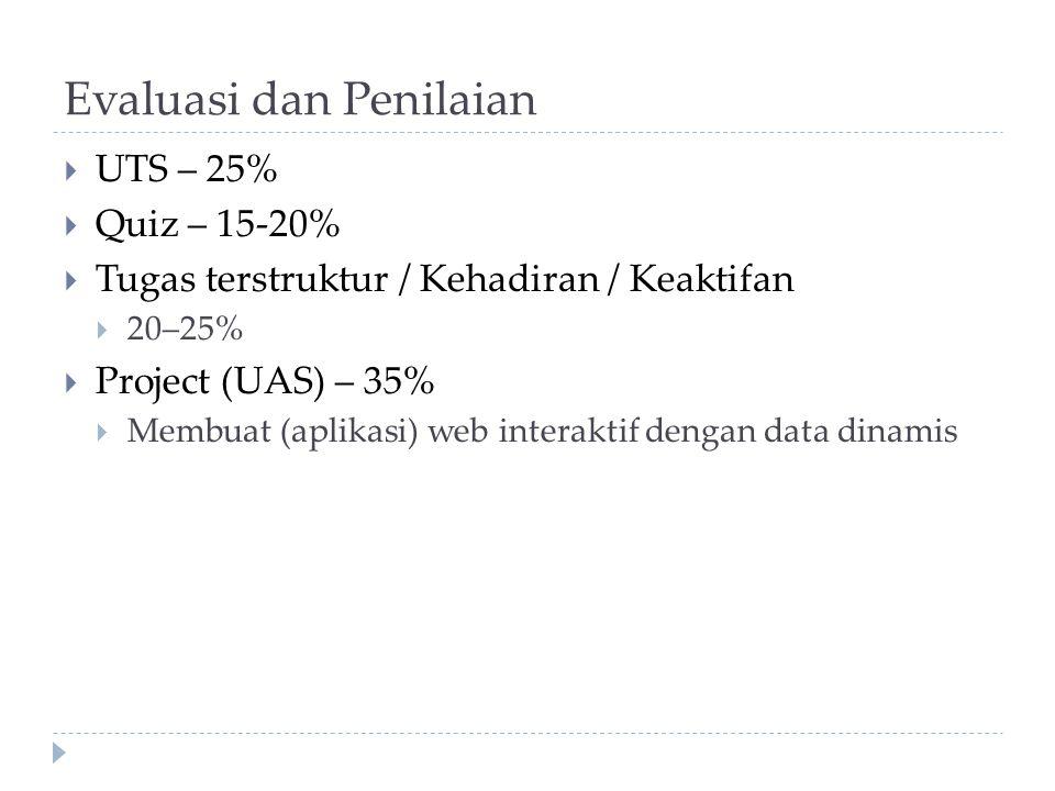 Evaluasi dan Penilaian  UTS – 25%  Quiz – 15-20%  Tugas terstruktur / Kehadiran / Keaktifan  20–25%  Project (UAS) – 35%  Membuat (aplikasi) web interaktif dengan data dinamis