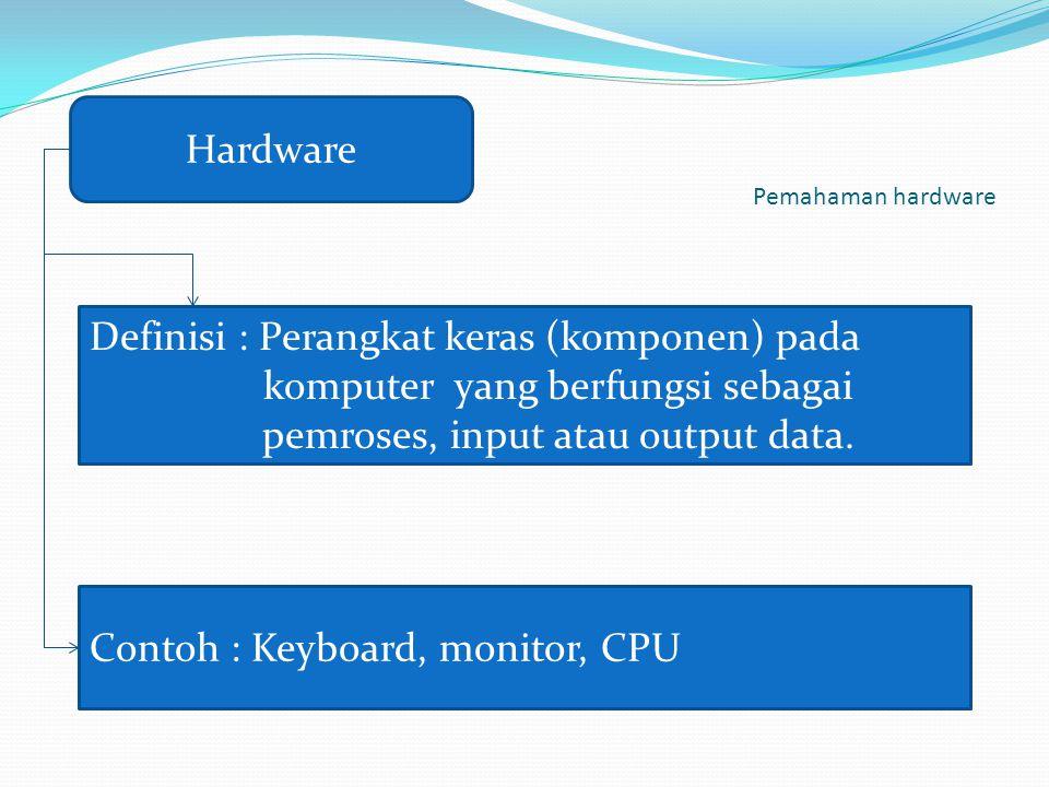 Pemahaman hardware Hardware Definisi : Perangkat keras (komponen) pada komputer yang berfungsi sebagai pemroses, input atau output data. Contoh : Keyb