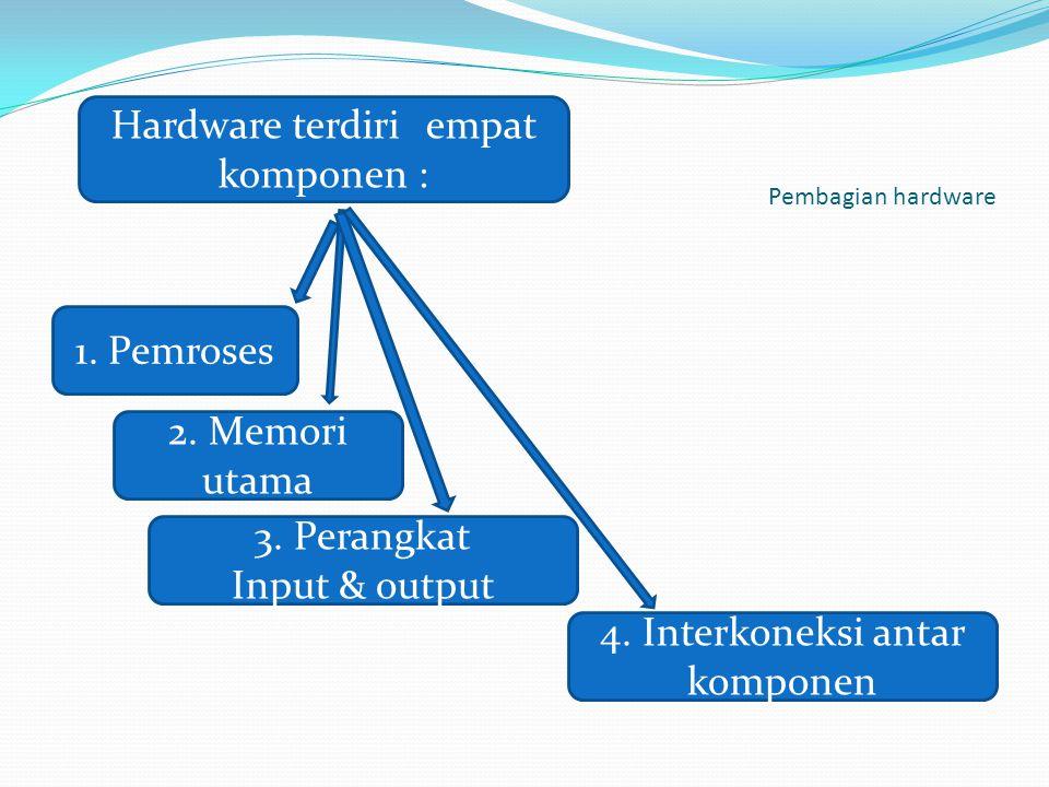 Pembagian hardware Hardware terdiri empat komponen : 1. Pemroses 2. Memori utama 3. Perangkat Input & output 4. Interkoneksi antar komponen