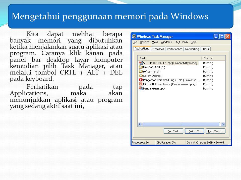 Kita dapat melihat berapa banyak memori yang dibutuhkan ketika menjalankan suatu aplikasi atau program. Caranya klik kanan pada panel bar desktop laya
