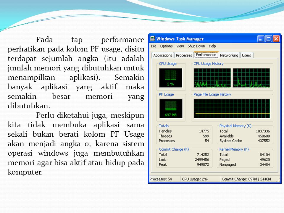 Pada tap performance perhatikan pada kolom PF usage, disitu terdapat sejumlah angka (itu adalah jumlah memori yang dibutuhkan untuk menampilkan aplikasi).
