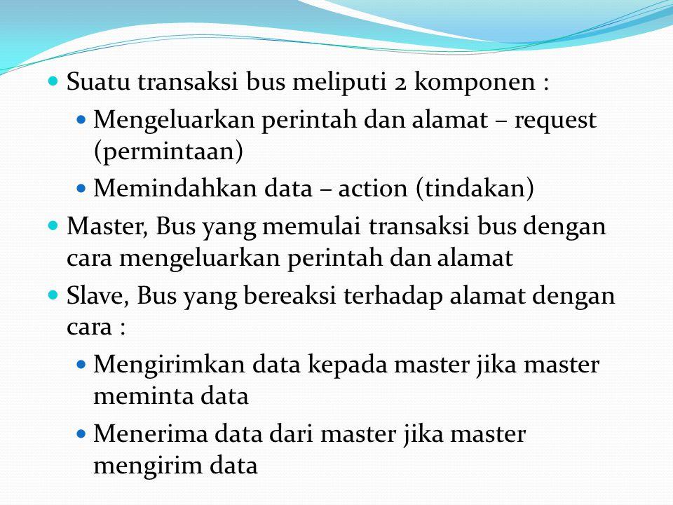 Suatu transaksi bus meliputi 2 komponen : Mengeluarkan perintah dan alamat – request (permintaan) Memindahkan data – action (tindakan) Master, Bus yang memulai transaksi bus dengan cara mengeluarkan perintah dan alamat Slave, Bus yang bereaksi terhadap alamat dengan cara : Mengirimkan data kepada master jika master meminta data Menerima data dari master jika master mengirim data