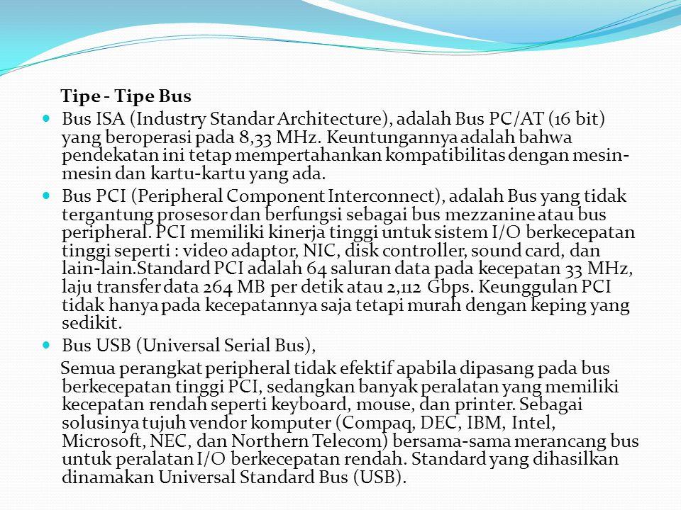 Tipe - Tipe Bus Bus ISA (Industry Standar Architecture), adalah Bus PC/AT (16 bit) yang beroperasi pada 8,33 MHz. Keuntungannya adalah bahwa pendekata