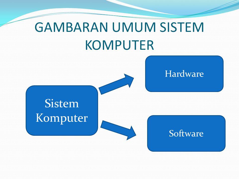 Sistem komputer adalah suatu jaringan elektronik yang terdiri dari hardware dan software yang melakukan tugas tertentu (menerima input, memproses input, menyimpan perintah-perintah, dan menyediakan output dalam bentuk informasi).