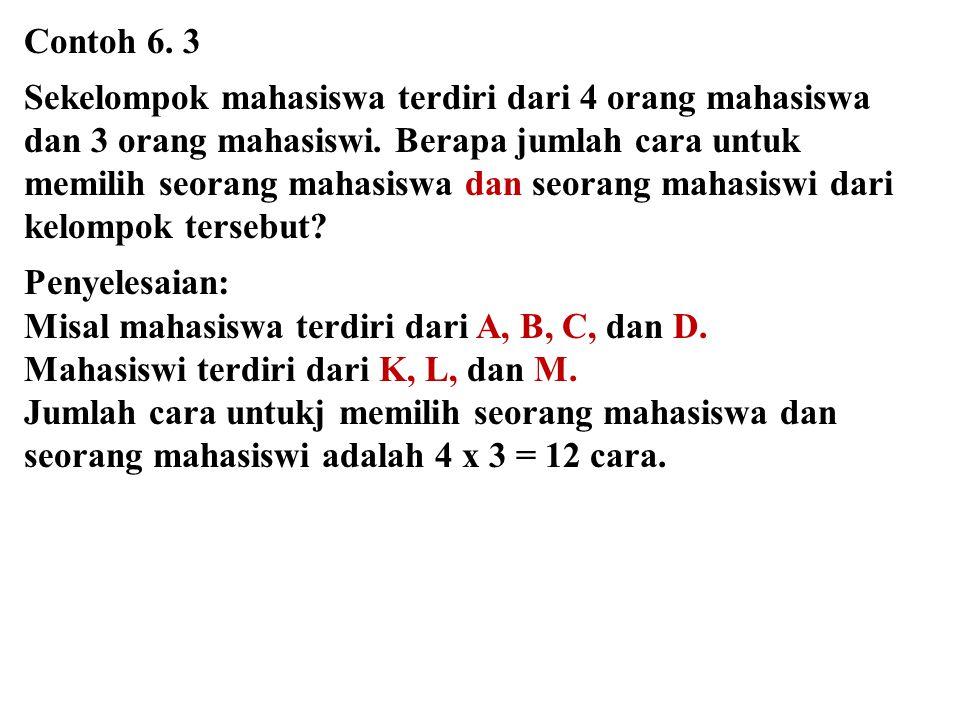 Contoh 6. 3 Sekelompok mahasiswa terdiri dari 4 orang mahasiswa dan 3 orang mahasiswi. Berapa jumlah cara untuk memilih seorang mahasiswa dan seorang