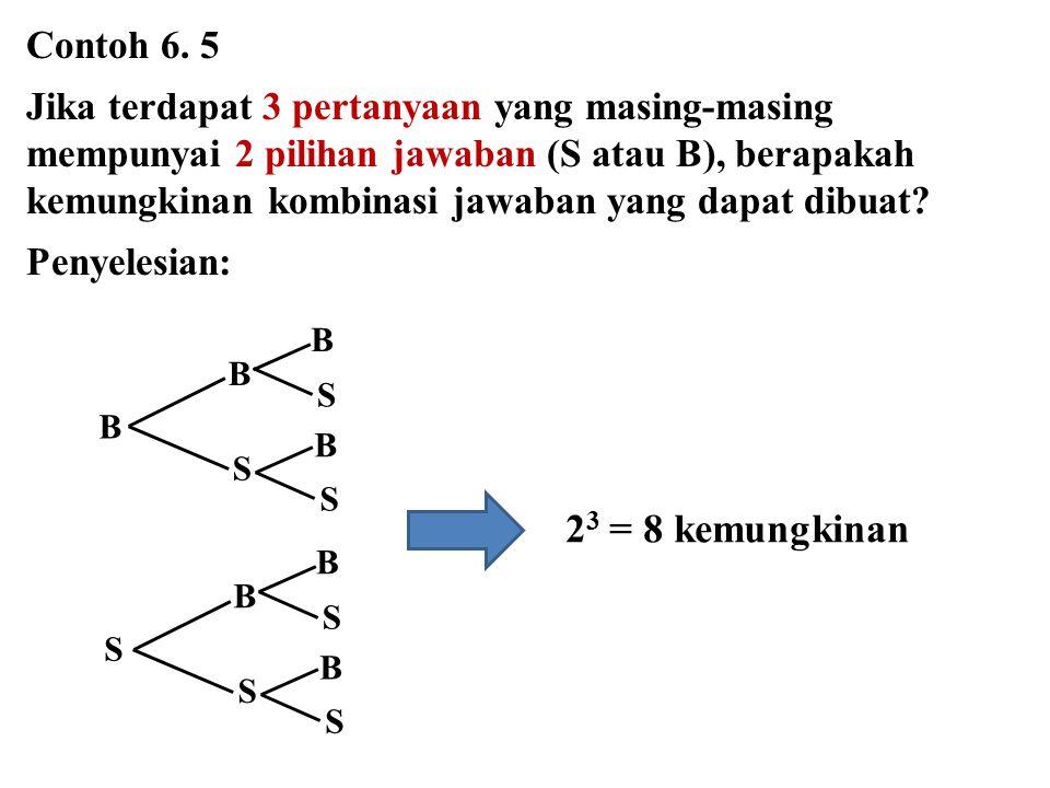 Contoh 6. 5 Jika terdapat 3 pertanyaan yang masing-masing mempunyai 2 pilihan jawaban (S atau B), berapakah kemungkinan kombinasi jawaban yang dapat d