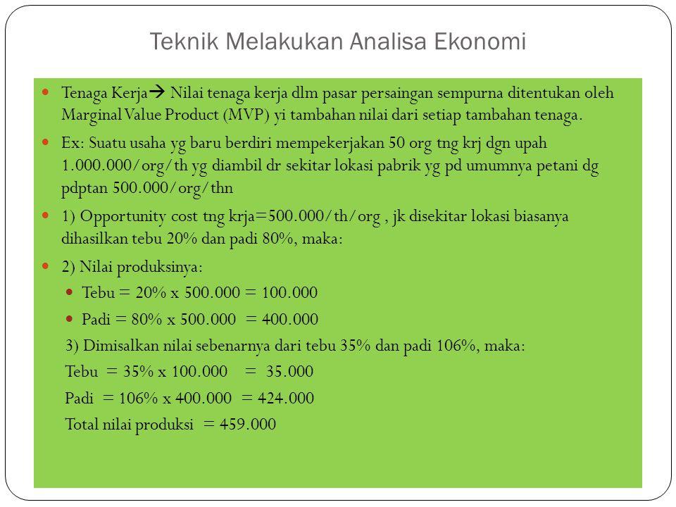 Teknik Melakukan Analisa Ekonomi Tenaga Kerja  Nilai tenaga kerja dlm pasar persaingan sempurna ditentukan oleh Marginal Value Product (MVP) yi tambahan nilai dari setiap tambahan tenaga.