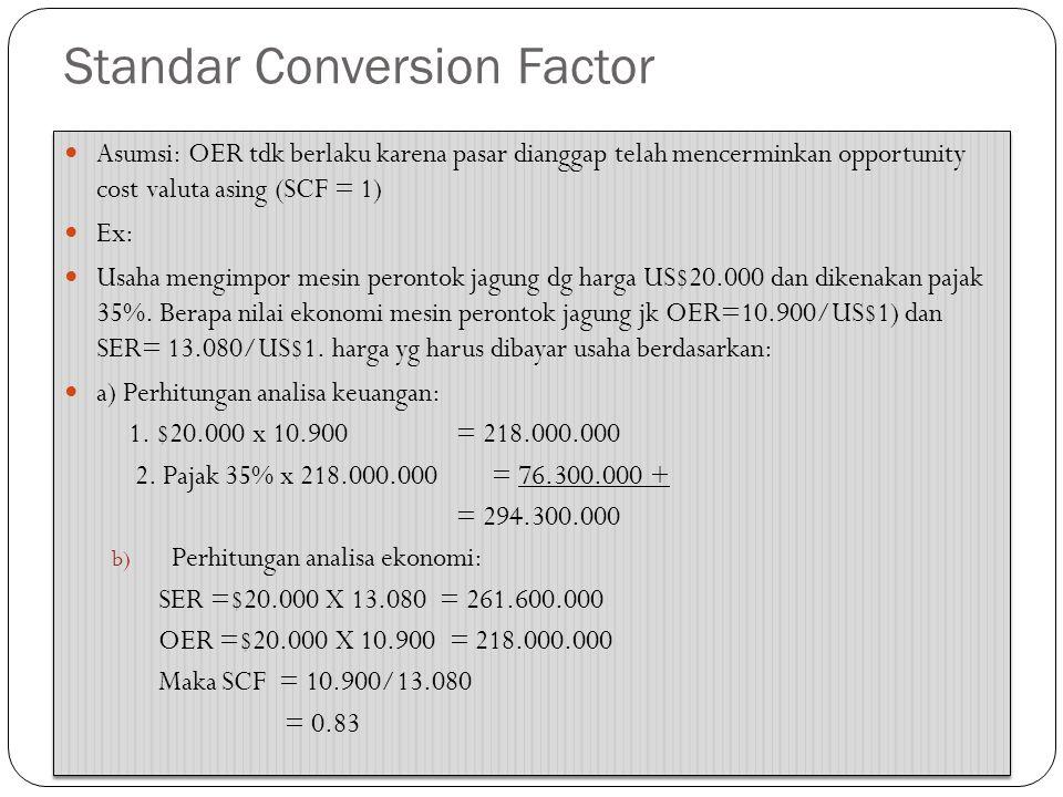 Perbedaan Analisa Finansial dan Ekonomi Langkah: 1) Tentukan besarnya nilai tukar per US$1 2) tentukan besarnya nilai premium akibat dr over value/under value 3) Hitung SER 4) Hitung SWR 5) Hitung SCF Langkah: 1) Tentukan besarnya nilai tukar per US$1 2) tentukan besarnya nilai premium akibat dr over value/under value 3) Hitung SER 4) Hitung SWR 5) Hitung SCF