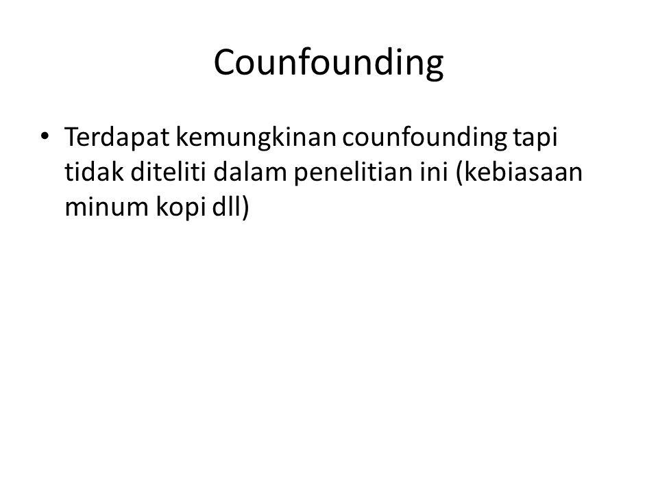 Counfounding Terdapat kemungkinan counfounding tapi tidak diteliti dalam penelitian ini (kebiasaan minum kopi dll)