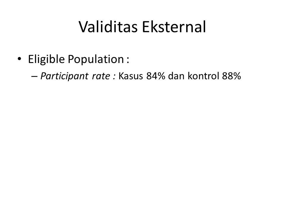 Validitas Eksternal Eligible Population : – Participant rate : Kasus 84% dan kontrol 88%