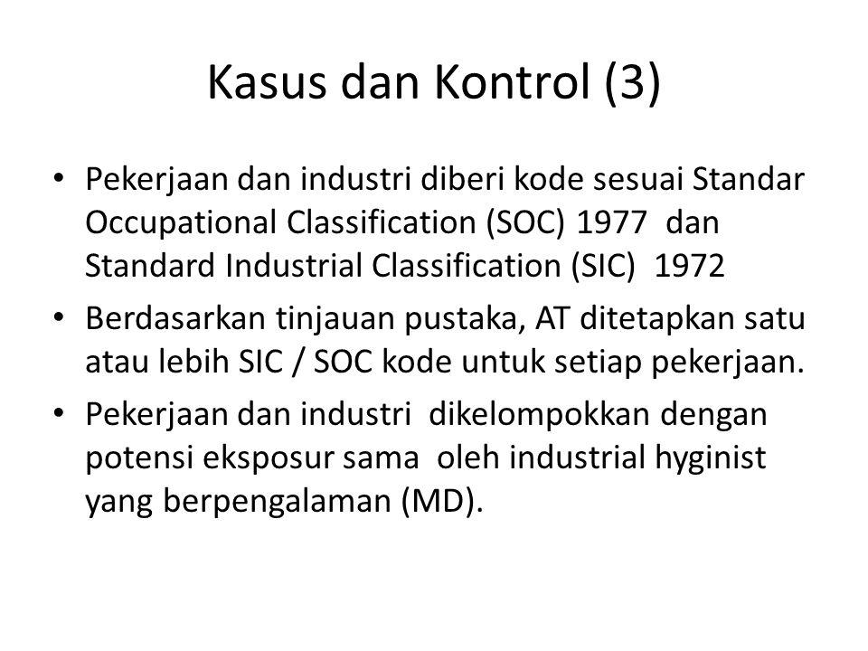Kasus dan Kontrol (3) Pekerjaan dan industri diberi kode sesuai Standar Occupational Classification (SOC) 1977 dan Standard Industrial Classification (SIC) 1972 Berdasarkan tinjauan pustaka, AT ditetapkan satu atau lebih SIC / SOC kode untuk setiap pekerjaan.