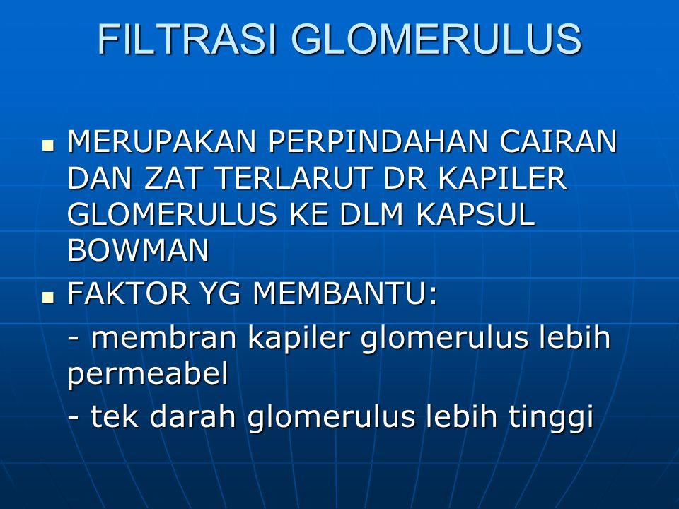 FILTRASI GLOMERULUS MERUPAKAN PERPINDAHAN CAIRAN DAN ZAT TERLARUT DR KAPILER GLOMERULUS KE DLM KAPSUL BOWMAN MERUPAKAN PERPINDAHAN CAIRAN DAN ZAT TERLARUT DR KAPILER GLOMERULUS KE DLM KAPSUL BOWMAN FAKTOR YG MEMBANTU: FAKTOR YG MEMBANTU: - membran kapiler glomerulus lebih permeabel - tek darah glomerulus lebih tinggi