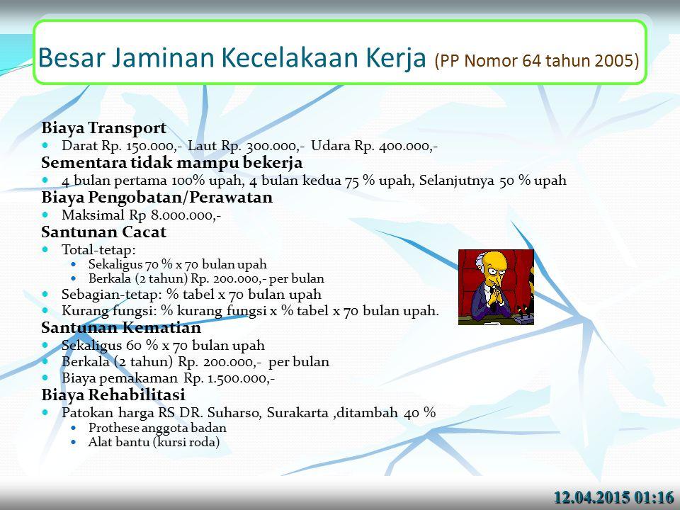 12.04.2015 01:1712.04.2015 01:17 Besar Jaminan Kecelakaan Kerja (PP Nomor 64 tahun 2005) Biaya Transport Darat Rp.