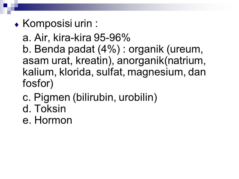  Komposisi urin : a. Air, kira-kira 95-96% b. Benda padat (4%) : organik (ureum, asam urat, kreatin), anorganik(natrium, kalium, klorida, sulfat, mag