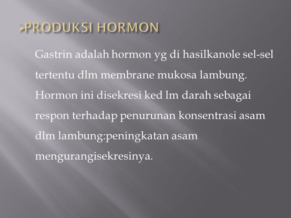 Gastrin adalah hormon yg di hasilkanole sel-sel tertentu dlm membrane mukosa lambung. Hormon ini disekresi ked lm darah sebagai respon terhadap penuru
