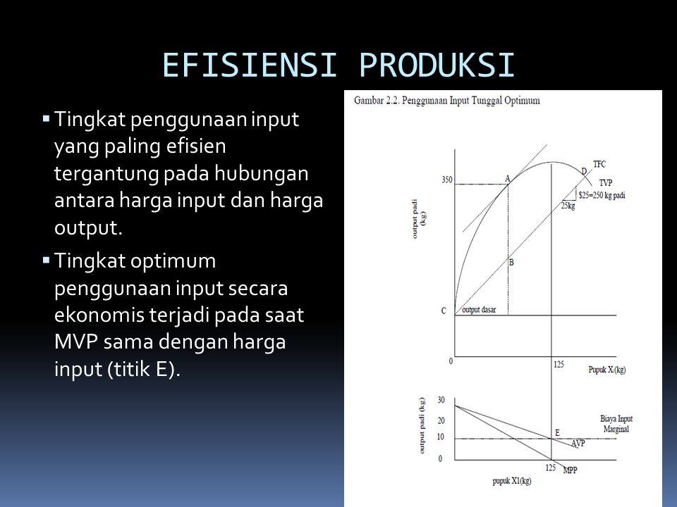 EFISIENSI PRODUKSI  Tingkat penggunaan input yang paling efisien tergantung pada hubungan antara harga input dan harga output.  Tingkat optimum peng