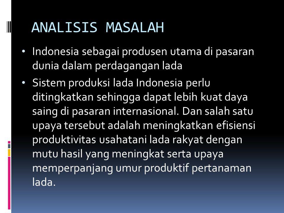ANALISIS MASALAH Indonesia sebagai produsen utama di pasaran dunia dalam perdagangan lada Sistem produksi lada Indonesia perlu ditingkatkan sehingga dapat lebih kuat daya saing di pasaran internasional.