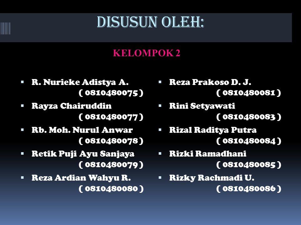 DISUSUN OLEH: KELOMPOK 2  R.Nurieke Adistya A.
