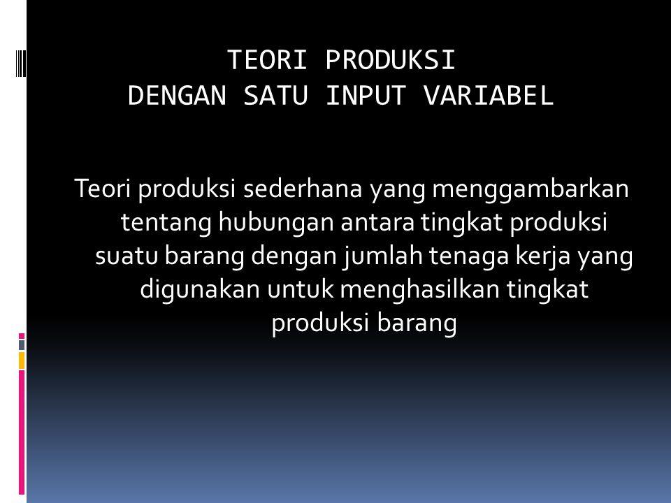 TEORI PRODUKSI DENGAN SATU INPUT VARIABEL Teori produksi sederhana yang menggambarkan tentang hubungan antara tingkat produksi suatu barang dengan jumlah tenaga kerja yang digunakan untuk menghasilkan tingkat produksi barang