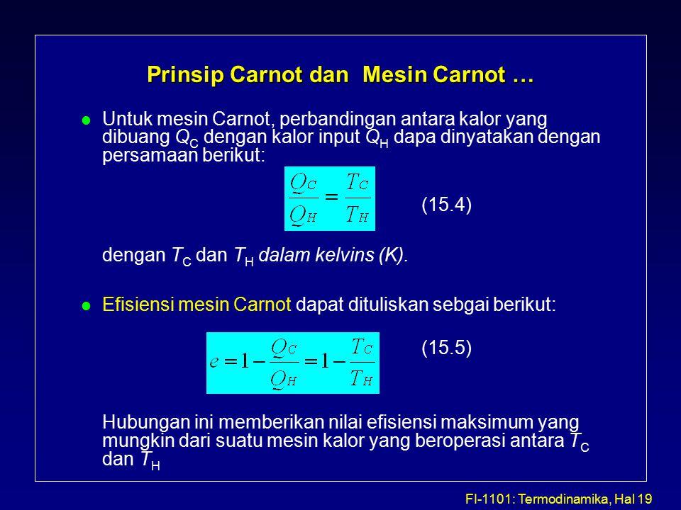 FI-1101: Termodinamika, Hal 19 Prinsip Carnot dan Mesin Carnot … l Untuk mesin Carnot, perbandingan antara kalor yang dibuang Q C dengan kalor input Q H dapa dinyatakan dengan persamaan berikut: (15.4) dengan T C dan T H dalam kelvins (K).