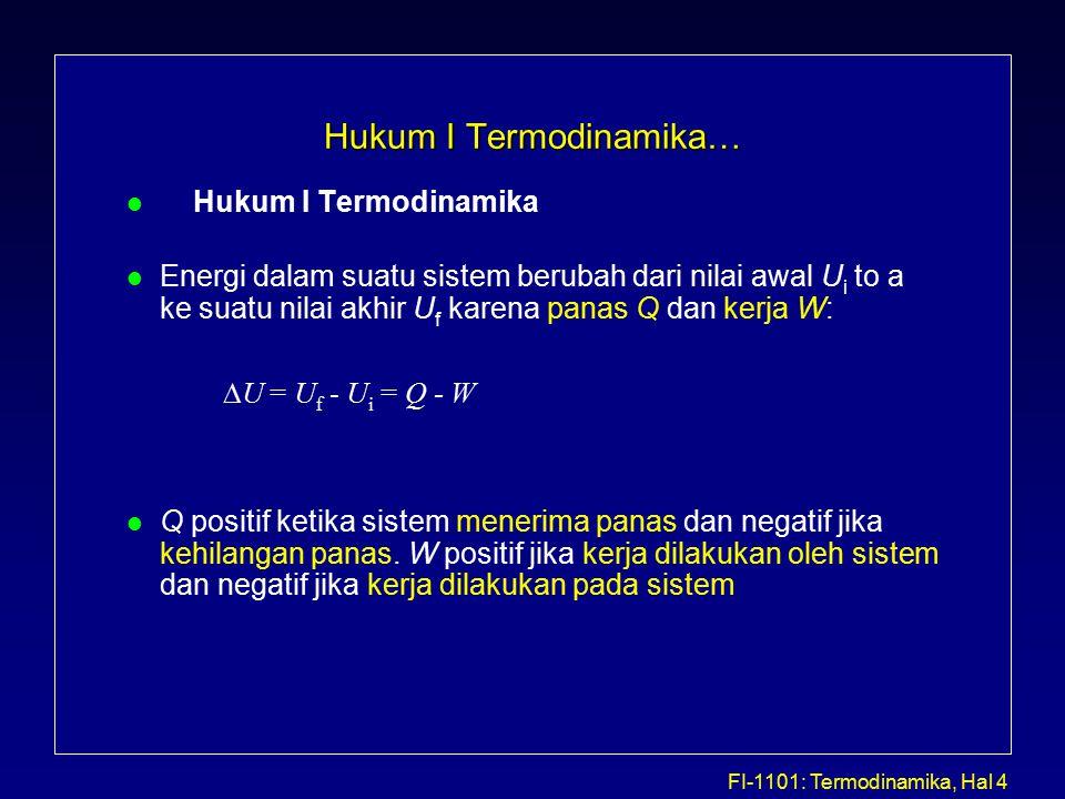 FI-1101: Termodinamika, Hal 5 Hukum I Termodinamika…(Beberapa contoh penerapan) l Proses Isobarik (Tekanan Tetap) untuk sistem gas ideal l Proses Isokhorik (Volume Tetap) untuk sistem gas ideal V P a b VoV1 V P Po P1 a b