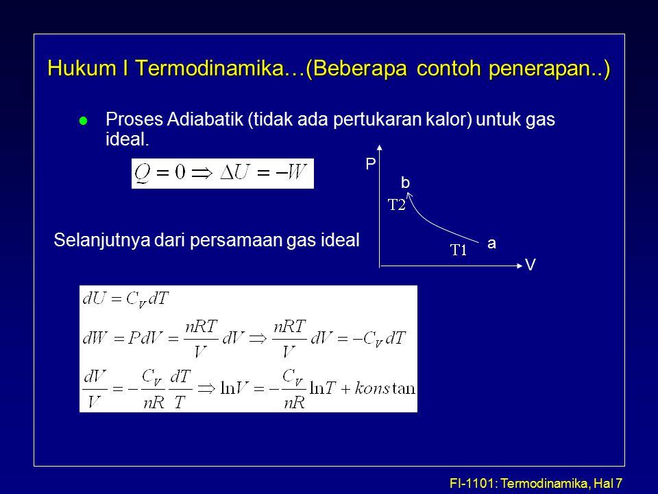 FI-1101: Termodinamika, Hal 7 Hukum I Termodinamika…(Beberapa contoh penerapan..) l Proses Adiabatik (tidak ada pertukaran kalor) untuk gas ideal.