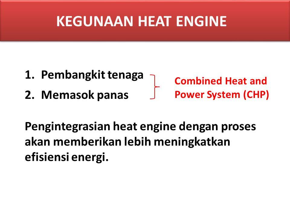 1.Pembangkit tenaga 2.Memasok panas Pengintegrasian heat engine dengan proses akan memberikan lebih meningkatkan efisiensi energi. Combined Heat and P