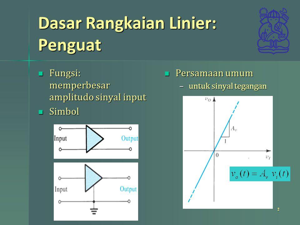 Dasar Rangkaian Linier: Penguat Fungsi: memperbesar amplitudo sinyal input Fungsi: memperbesar amplitudo sinyal input Simbol Simbol Persamaan umum Per