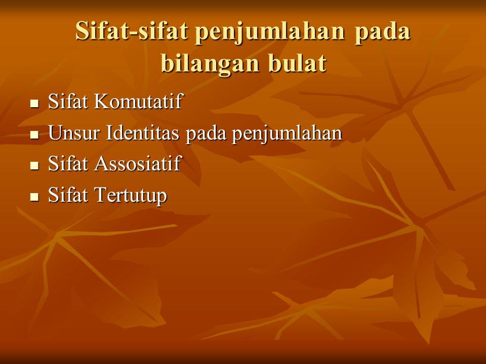 Perkalian dan sifat-sifatnya Sifat Komutatif Perkalian Sifat Komutatif Perkalian Sifat Assosiatif Perkalian Sifat Assosiatif Perkalian Sifat distributif perkalian bilangan bulat terhadap penjumlahan dan terhadap pengurangan Sifat distributif perkalian bilangan bulat terhadap penjumlahan dan terhadap pengurangan