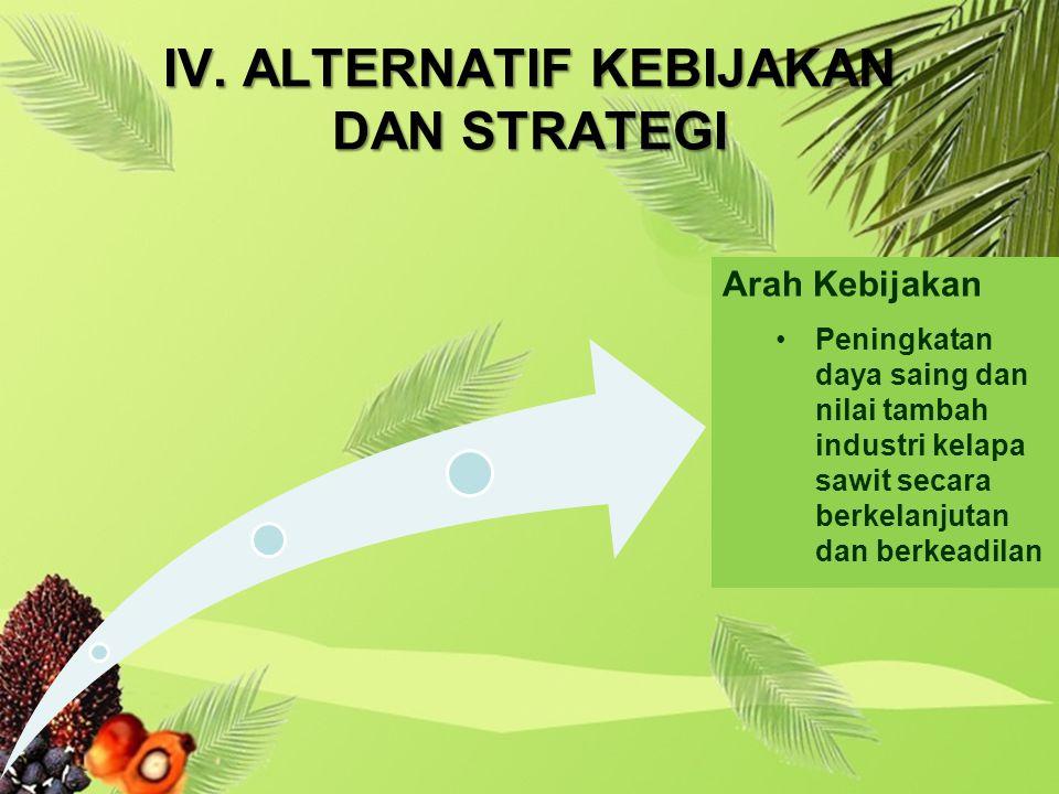 IV. ALTERNATIF KEBIJAKAN DAN STRATEGI Arah Kebijakan Peningkatan daya saing dan nilai tambah industri kelapa sawit secara berkelanjutan dan berkeadila
