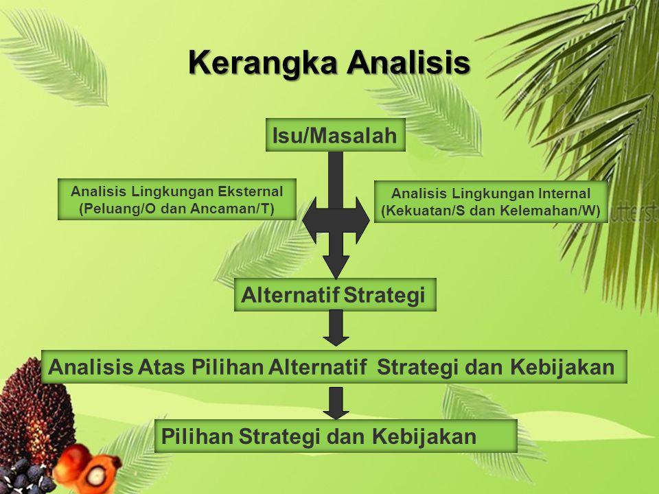 Isu/Masalah Analisis Lingkungan Eksternal (Peluang/O dan Ancaman/T) Analisis Lingkungan Internal (Kekuatan/S dan Kelemahan/W) Alternatif Strategi Analisis Atas Pilihan Alternatif Strategi dan Kebijakan Pilihan Strategi dan Kebijakan Kerangka Analisis