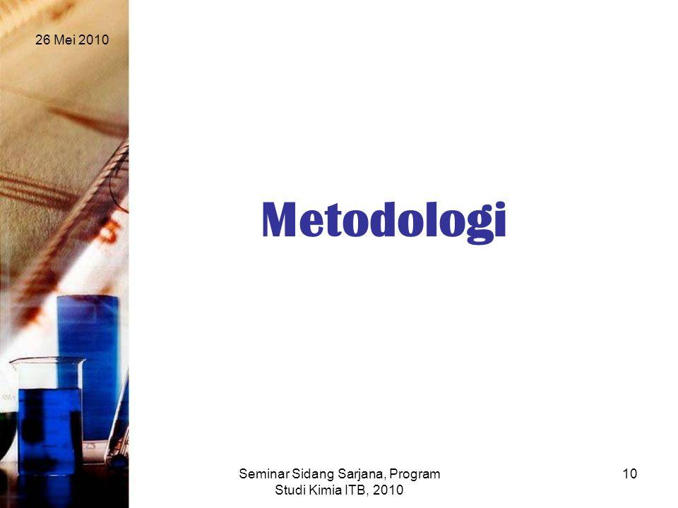 26 Mei 2010 Seminar Sidang Sarjana, Program Studi Kimia ITB, 2010 10 Metodologi