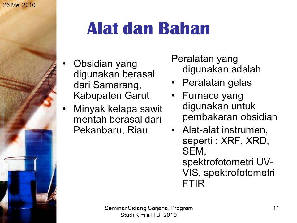 26 Mei 2010 Seminar Sidang Sarjana, Program Studi Kimia ITB, 2010 11 Alat dan Bahan Obsidian yang digunakan berasal dari Samarang, Kabupaten Garut Minyak kelapa sawit mentah berasal dari Pekanbaru, Riau Peralatan yang digunakan adalah Peralatan gelas Furnace yang digunakan untuk pembakaran obsidian Alat-alat instrumen, seperti : XRF, XRD, SEM, spektrofotometri UV- VIS, spektrofotometri FTIR