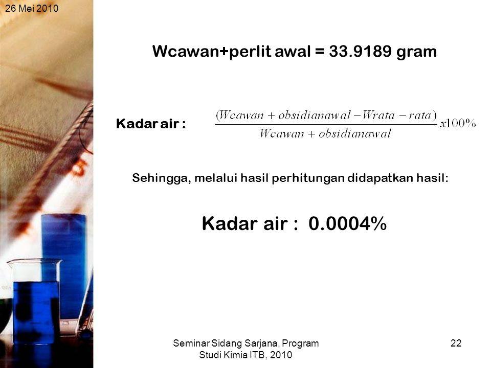 26 Mei 2010 Seminar Sidang Sarjana, Program Studi Kimia ITB, 2010 22 Wcawan+perlit awal = 33.9189 gram Kadar air : Kadar air : 0.0004% Sehingga, melalui hasil perhitungan didapatkan hasil: