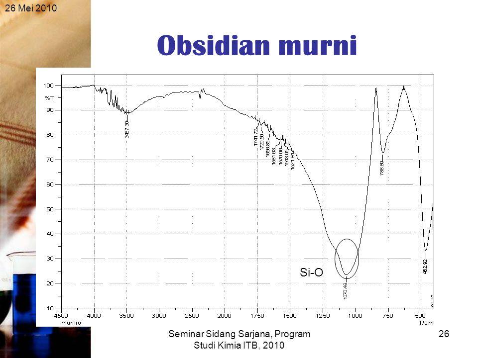 26 Mei 2010 Seminar Sidang Sarjana, Program Studi Kimia ITB, 2010 26 Obsidian murni Si-O