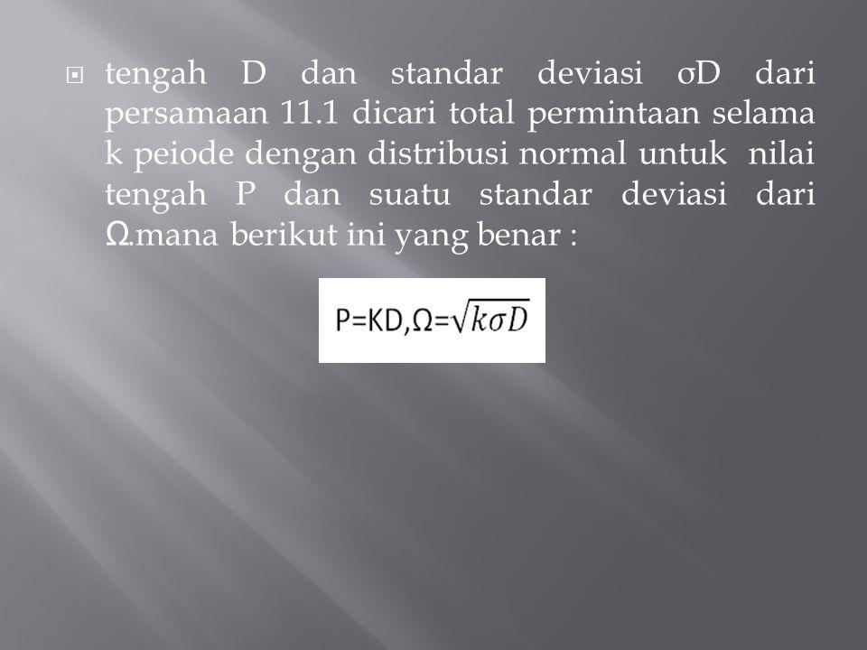  tengah D dan standar deviasi σ D dari persamaan 11.1 dicari total permintaan selama k peiode dengan distribusi normal untuk nilai tengah P dan suatu