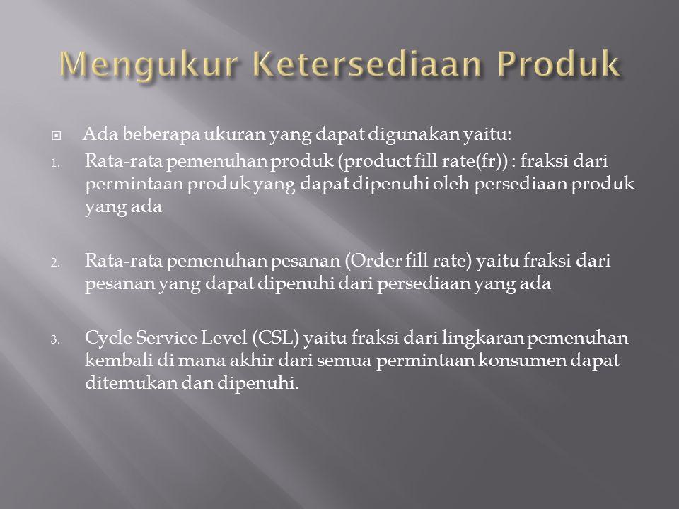  Ada beberapa ukuran yang dapat digunakan yaitu: 1. Rata-rata pemenuhan produk (product fill rate(fr)) : fraksi dari permintaan produk yang dapat dip