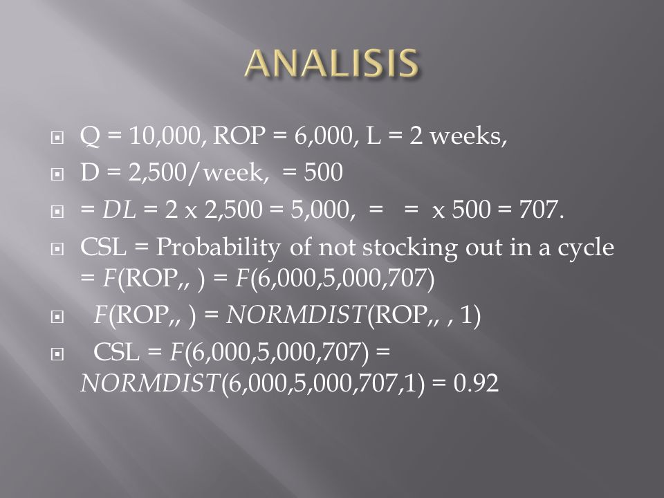  Q = 10,000, ROP = 6,000, L = 2 weeks,  D = 2,500/week, = 500  = DL = 2 x 2,500 = 5,000, = = x 500 = 707.  CSL = Probability of not stocking out i