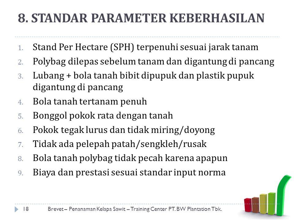 8.STANDAR PARAMETER KEBERHASILAN 1. Stand Per Hectare (SPH) terpenuhi sesuai jarak tanam 2.
