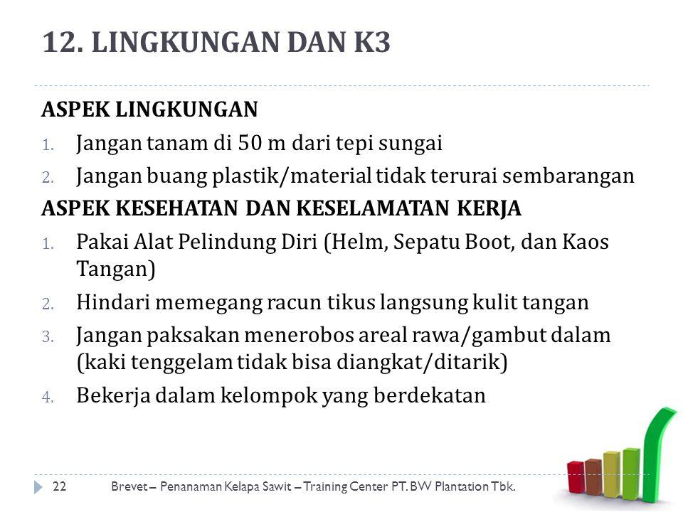 12.LINGKUNGAN DAN K3 22Brevet – Penanaman Kelapa Sawit – Training Center PT.