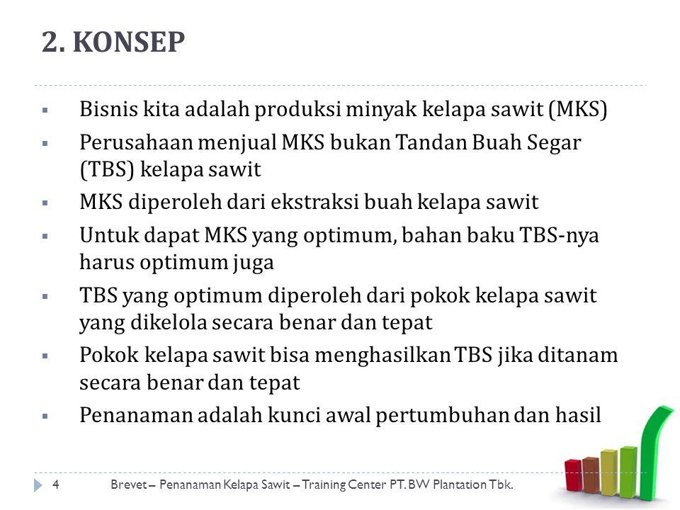 2. KONSEP  Bisnis kita adalah produksi minyak kelapa sawit (MKS)  Perusahaan menjual MKS bukan Tandan Buah Segar (TBS) kelapa sawit  MKS diperoleh