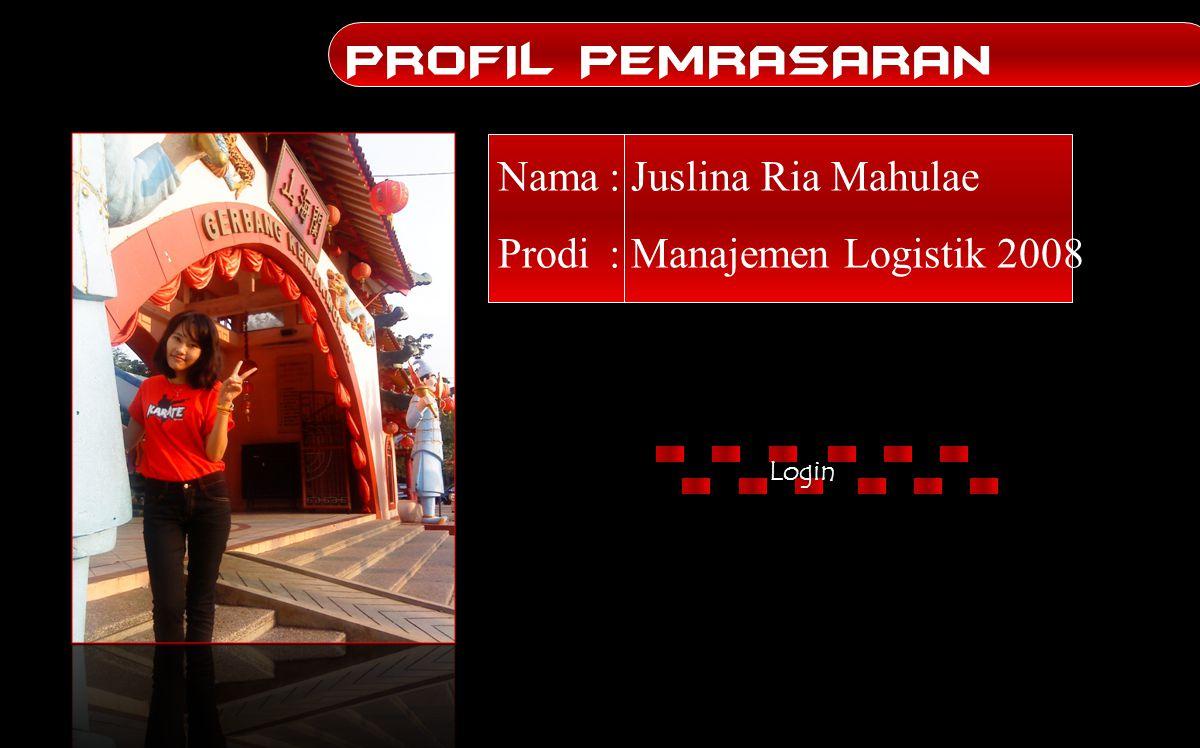 Nama: Juslina Ria Mahulae Prodi: Manajemen Logistik 2008 PROFIL PEMRASARAN Login