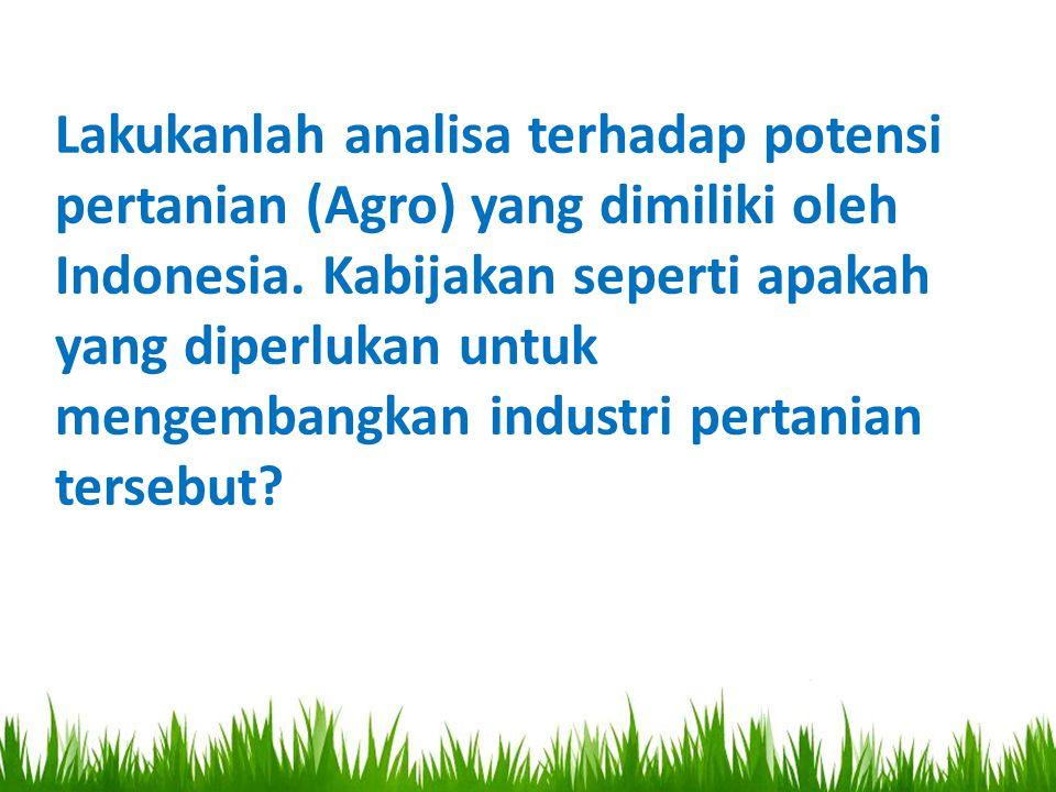 Lakukanlah analisa terhadap potensi pertanian (Agro) yang dimiliki oleh Indonesia. Kabijakan seperti apakah yang diperlukan untuk mengembangkan indust