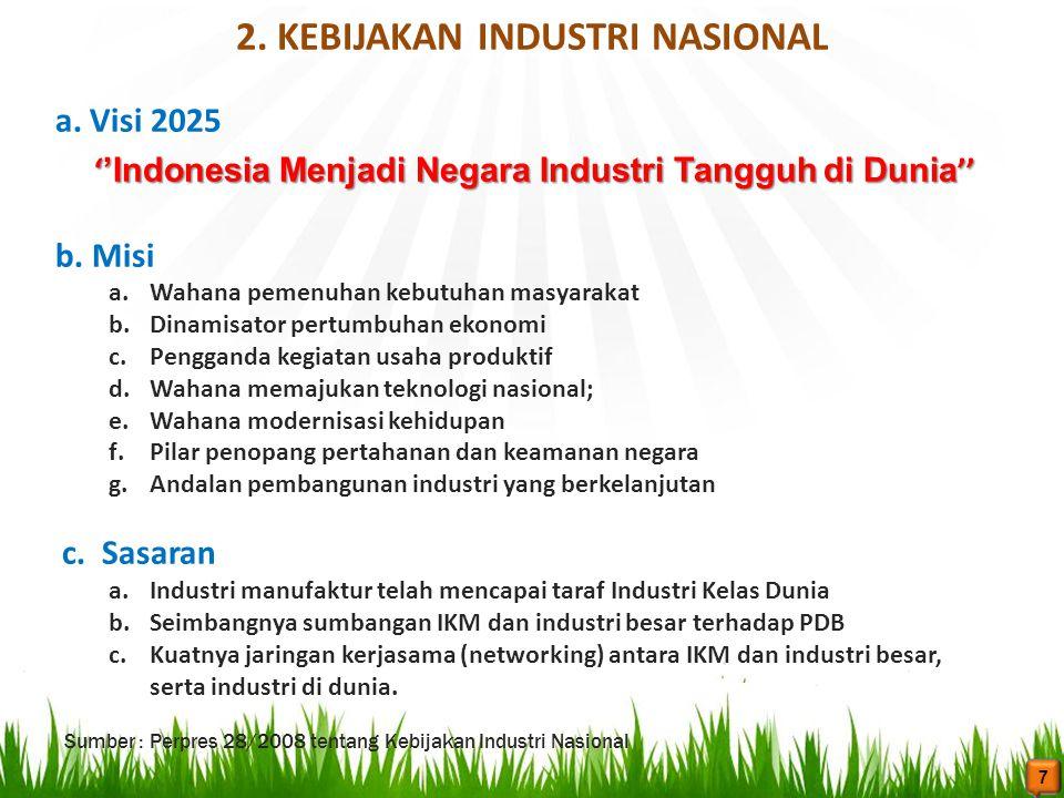 2. KEBIJAKAN INDUSTRI NASIONAL a. Visi 2025 ' 'Indonesia Menjadi Negara Industri Tangguh di Dunia '' ' 'Indonesia Menjadi Negara Industri Tangguh di D