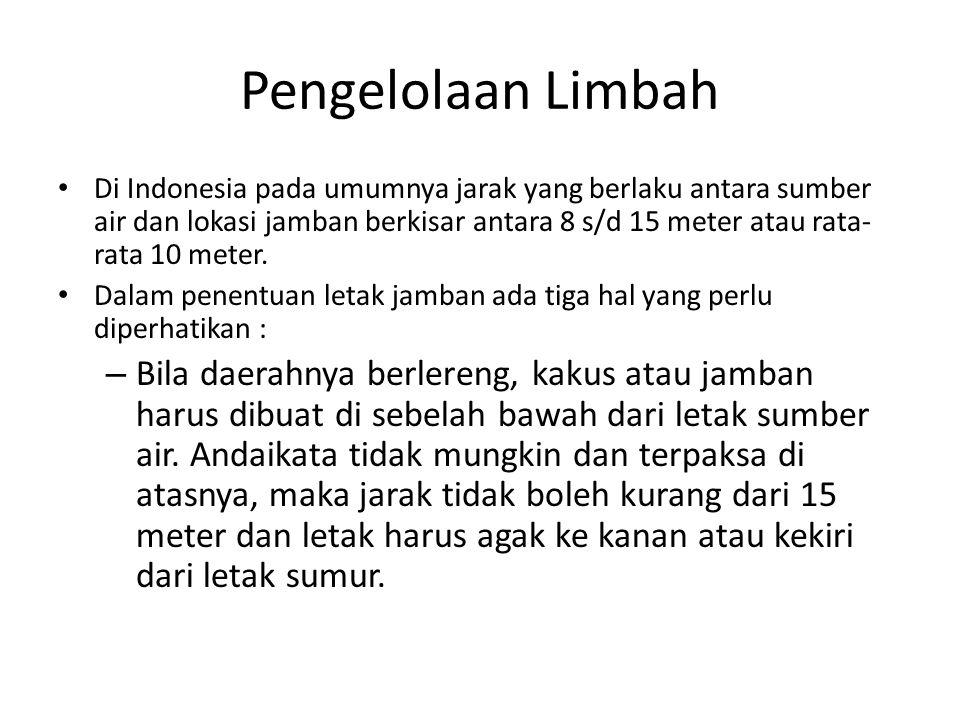 Pengelolaan Limbah Di Indonesia pada umumnya jarak yang berlaku antara sumber air dan lokasi jamban berkisar antara 8 s/d 15 meter atau rata- rata 10 meter.